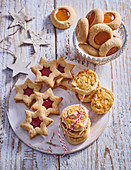Three sorts of Christmas cookies made from nut dough