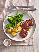 Beef rissoles with beetroot and capers