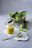 Lemon vinaigrette and lettuce