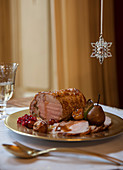 Roast veal with pears, goose liver and Port wine sauce