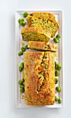 Broad bean cake with scamorza
