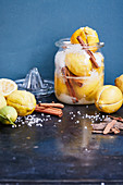 Pickled salt lemons with cinnamon