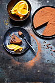 Veganer Orangen-Schokoladencremekuchen