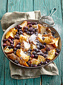 Croissant pudding with blueberries