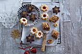 Linzer cookies, chocolate star cookies, nut cookies