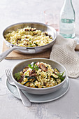 Millet grain risotto with mushrooms and courgette