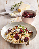 Mushroom risotto with marinated beetroot