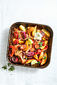 Chipotle pork, potato and capsicum tray bake
