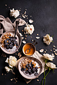 Natural yoghurt with granola, chia pudding, frozen blueberries and honey