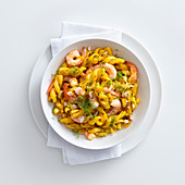 Fusilli with prawns