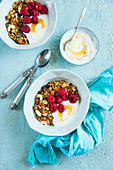Almond granola with cashew nuts, yoghurt, honey and raspberries