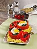 Stuffed peppers with egg and spinach