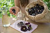 Stockrosenwein zubereiten: Stockrosenblüten in ein Glas geben