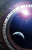 Earth through a spacecraft window, illustration