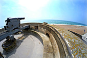 Martello Tower and cannon, Seaford, East Sussex UK