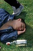 Drunk teenage boy