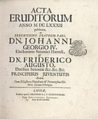 Title page of first edition of Acta eruditorum, 1682