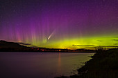 Comet NEOWISE and aurora, Waterton River, Alberta, Canada
