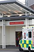 Ambulance outside hospital, UK