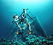 Shipwreck and skeleton on coral reef, illustration