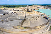 Sand and gravel mine, aerial photograph