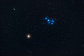 Mars and the Pleiades Star Cluster