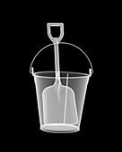 Metal bucket and spade, X-ray