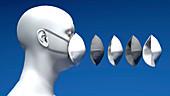 N95 face mask, illustration