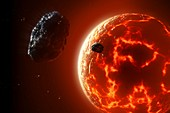 Artwork of a molten exoplanet