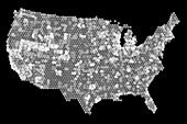 USA coin map, X-ray