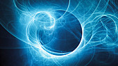 Glowing plasma curves in space, abstract illustration