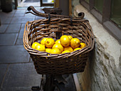 Fresh lemons in a wicker basket in a rusty basket