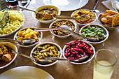 Various dishes in bowls (Sri Lanka)