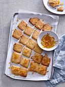 Orange biscuits with candied orange zest