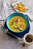 Vegetable soup with corn noodles