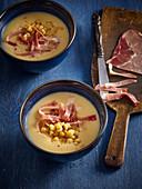 Pea soup with prosciutto