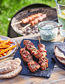 Pork souvlaki, sweet potato fries and tzatziki