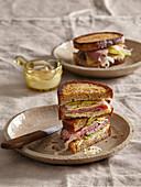 Reuben sandwich with sauerkraut