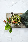 Wild harb pesto with copper beech leaves, stinging nettles and ground-elder