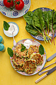 Chard fritters with yoghurt dip
