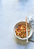 Kung Pao cauliflower and prawn stir-fry