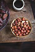 Hazelnuts, dates and coffee