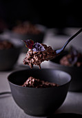 Chocolate and hazelnut mousse with purple basil