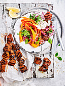Lamb Skewers with Middle Eastern Carrot Salad