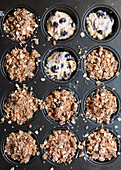 Blueberry muffin batter with oat crumble