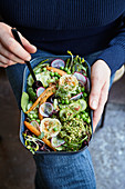 Buckwheat bowl with vegetables and roasted goat's cheese