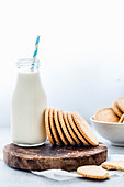 Stack of Homemade Shortbread cookies and a bottle of milk