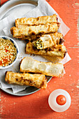 Baked spring rolls with tofu, stick rice, onions and mushrooms (Asia)