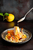 Chicken with lemon cream and vegetables pappardelle
