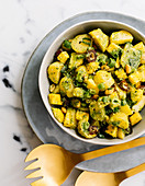 Potato salad with mango and coriander pesto